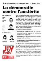 Départementales 2015 - Modèle de tract - La démocratie contre l'austérité