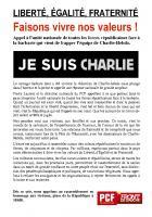 TRACT - Je suis Charlie - Liberté, égalité, fraternité - Faisons vivre nos valeurs!