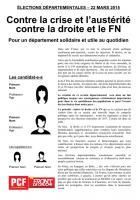 Départementales 2015 - Modèle de tract - Contre la crise et l'austérité contre la droite et le FN