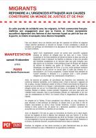 Solidarité avec les migrants - Mobilisation le 19 décembre - Répondre a l'urgence/s'attaquer aux causes