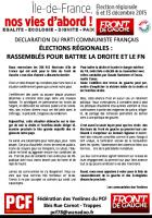 ÉLECTIONS RÉGIONALES :  RASSEMBLÉS POUR BATTRE LA DROITE ET LE FN
