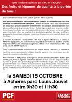 Yvelines, samedi 15/10/2011 : vente de fruits et légumes au prix juste. Halte à la vie chère!