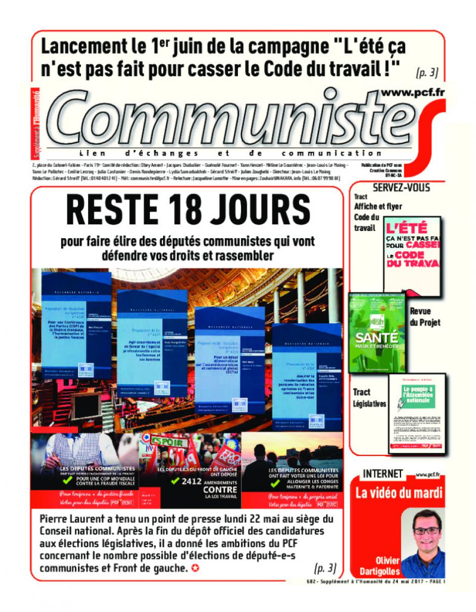 Journal CommunisteS n°682 24 mai 2017
