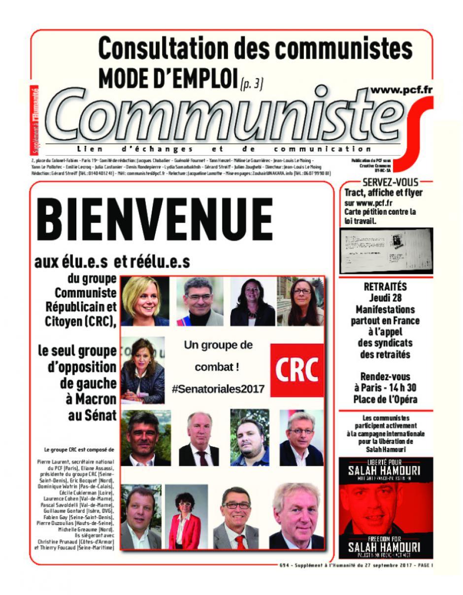 Journal communisteS n°694 27 septembre 2017