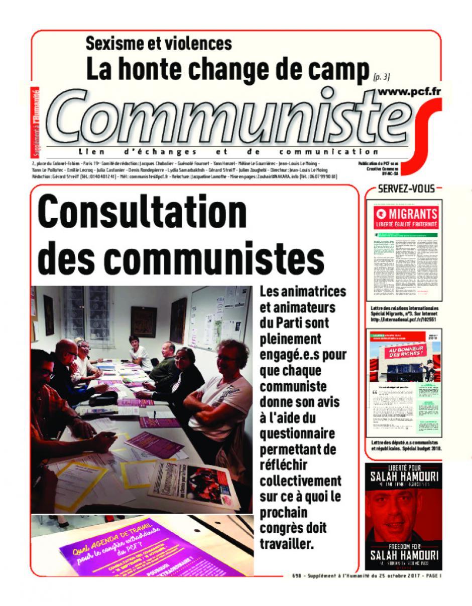 Journal CommunisteS n°698 25 octobre 2017