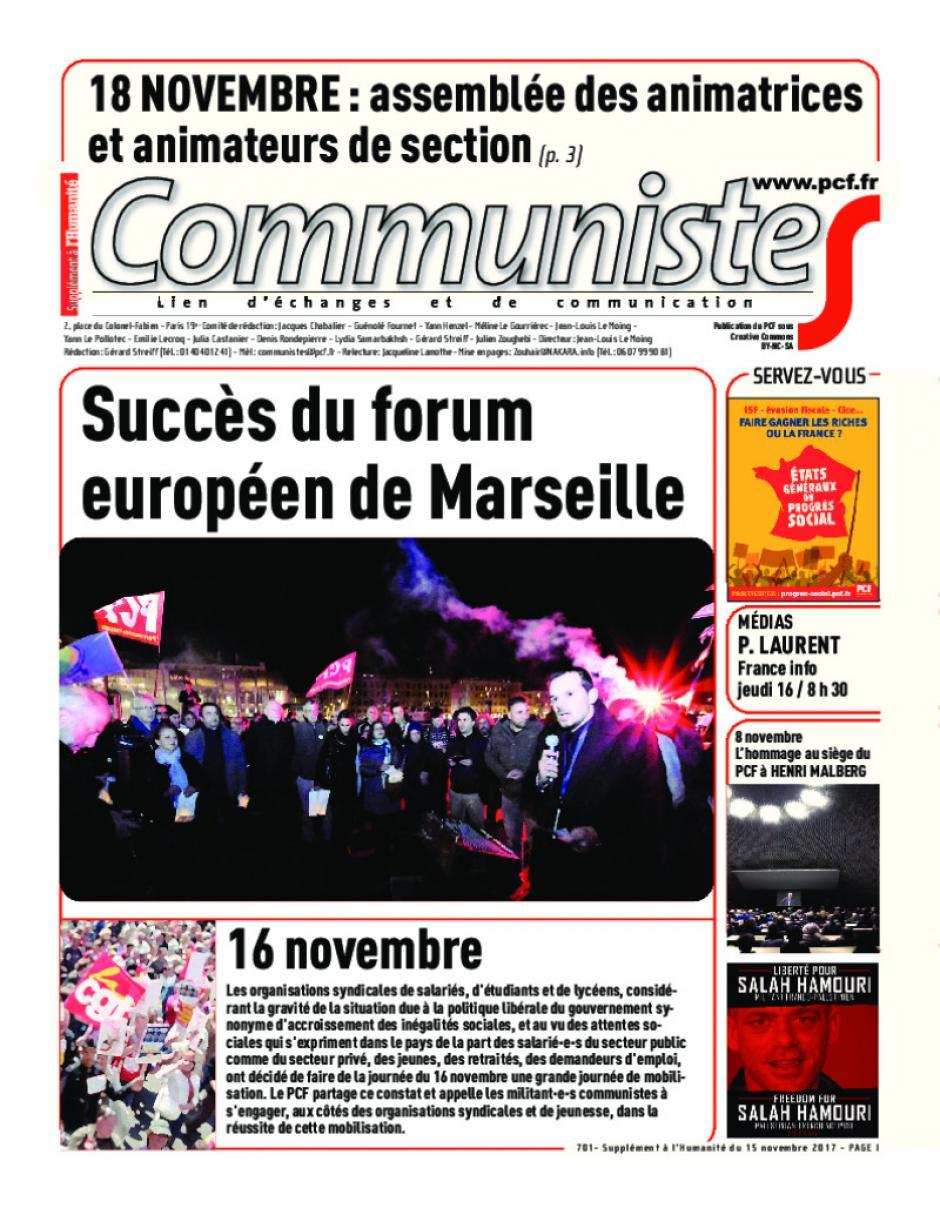Journal CommunisteS n°701 15 novembre 2017