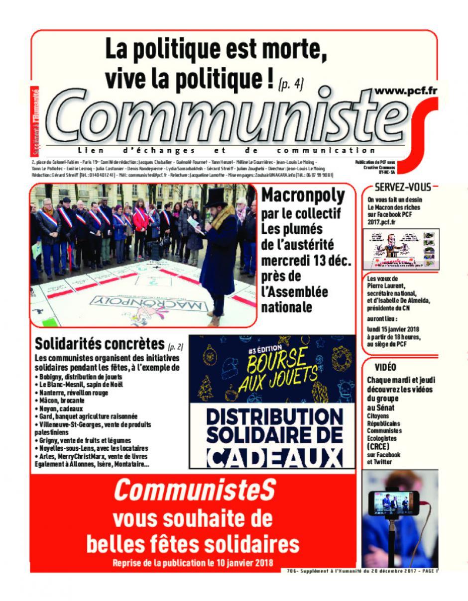 Journal CommunisteS n°706 20 décembre 2017