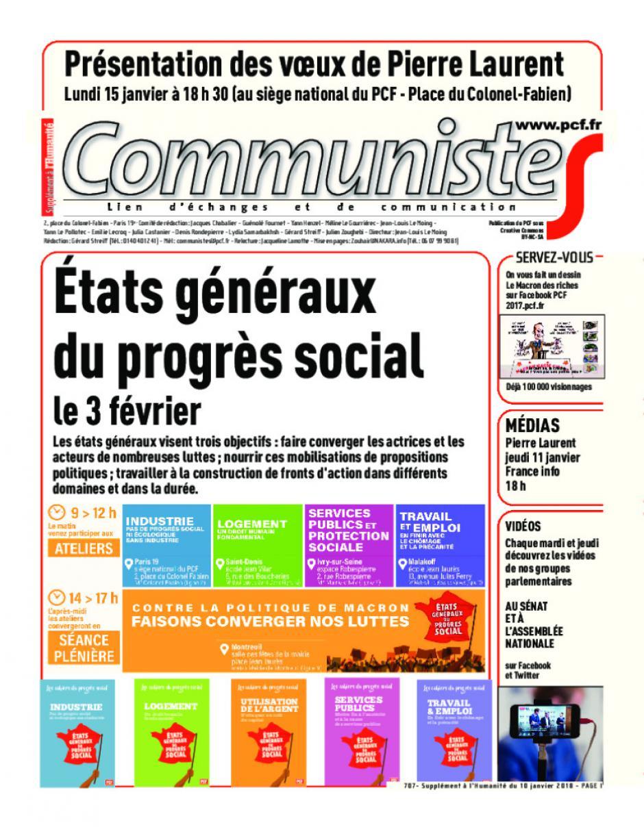 Journal CommunisteS n°707 10 janvier 2018