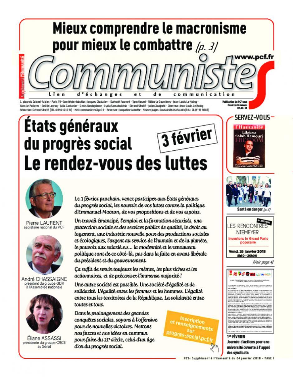 Journal CommunisteS n°709 24 janvier 2018