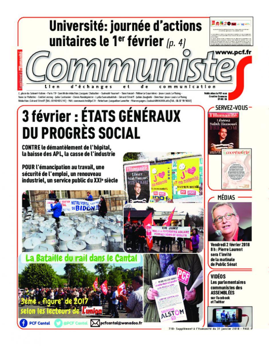 Journal CommunisteS n°710 31 janvier 2018