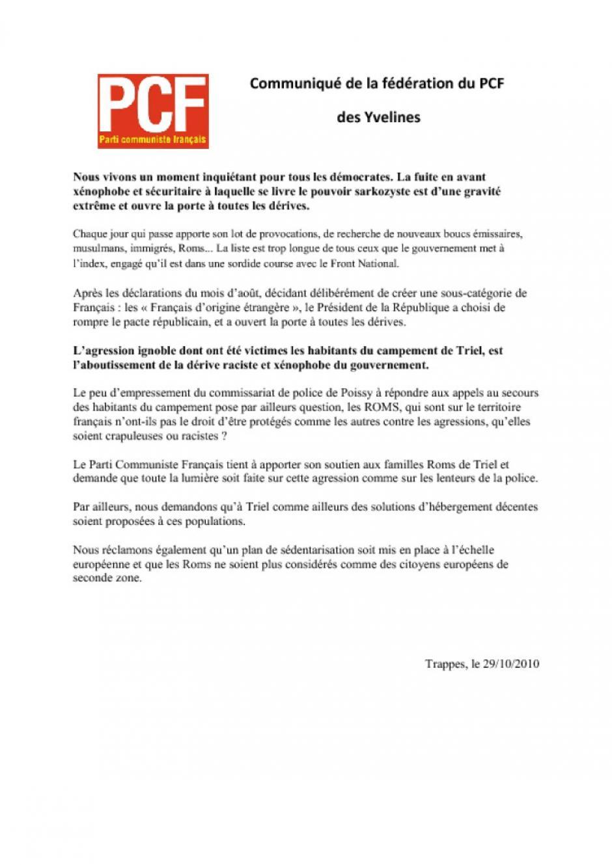 Communiqué  PCF agression roms Triel 29-10-2010