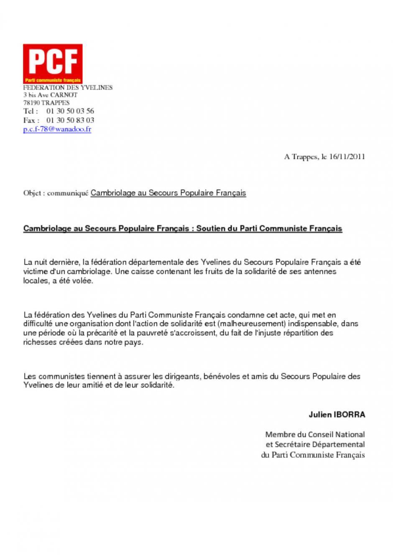 16-11-2011 Cambriolage au Secours Populaire Français, Soutien du Parti Communiste Français
