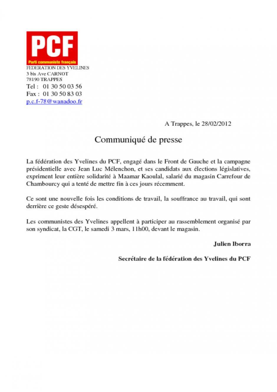 Communiqué de presse Carrefour Chambourcy-PCF78