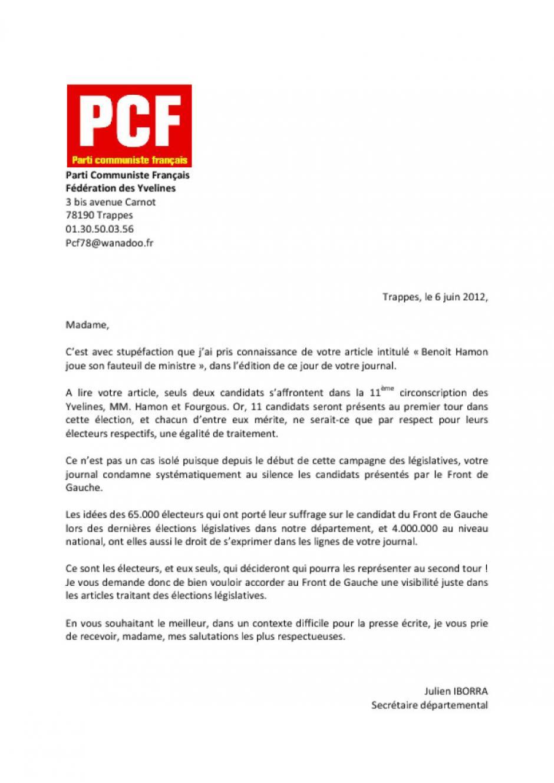 Egalité de traitement des candidats aux législatives dans le Parisien ?