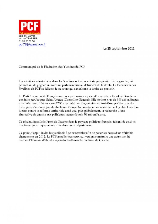 Résultats des élections sénatoriales dans les Yvelines