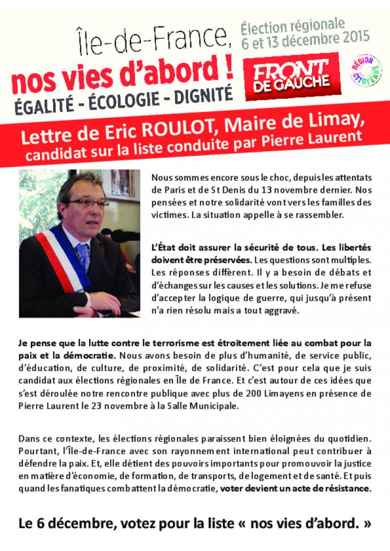 Régionales-Eric Roulot maire de Limay