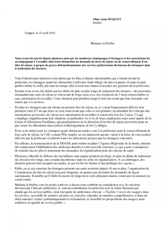 lettre Ouverte de l'ADECR à Anne Bocquet, préfète des Yvelines à propos des files d'attente devant la préfecture