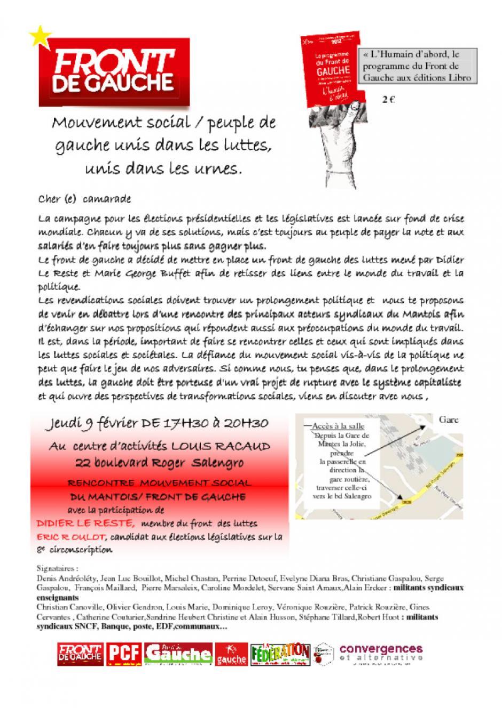 Front des luttes : Jeudi 9 février, Mantes La Ville
