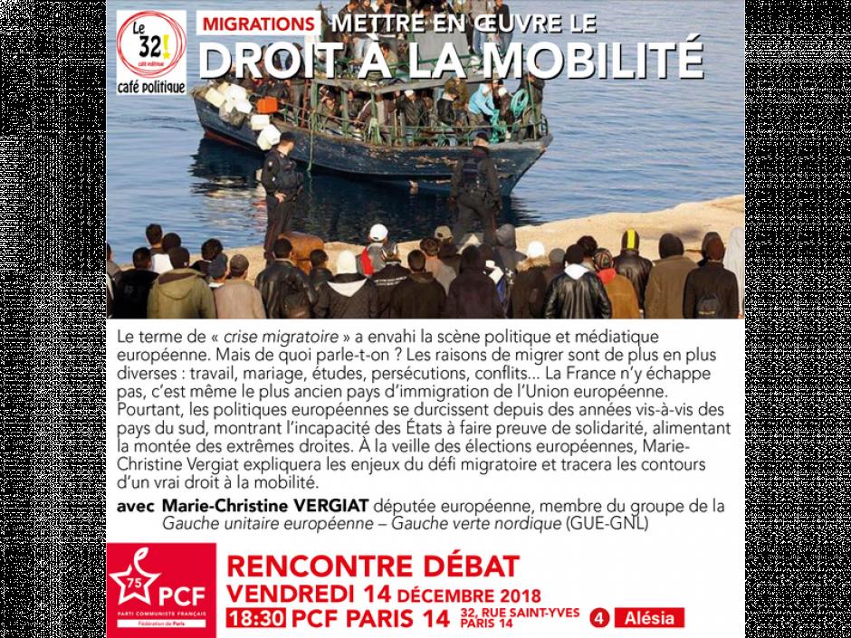 Migrations: Mettre en œuvre le droit à la mobilité au 32! Café politique avec Marie-Christine Vergiat