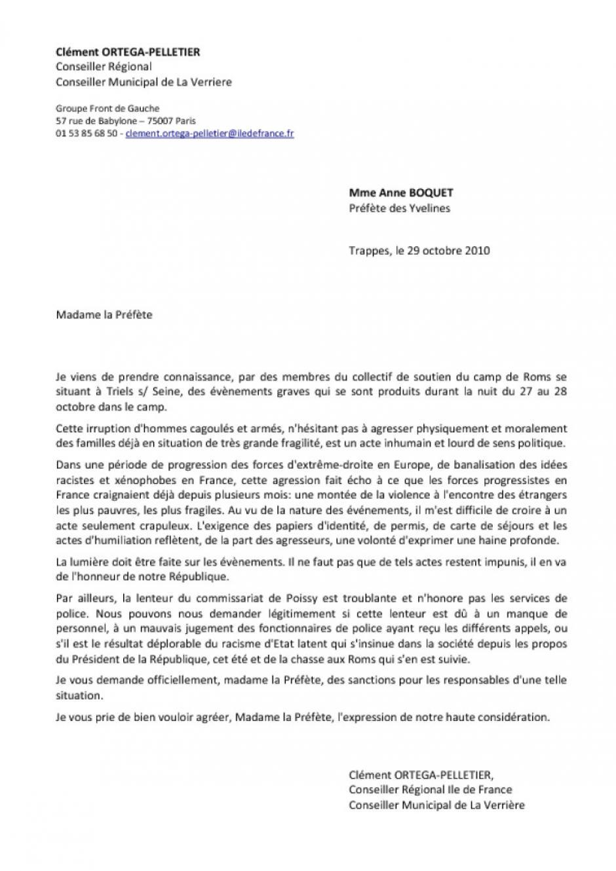 lettre Ouverte à Anne Bocquet, préfète des Yvelines à propos de l'agression des Roms de Triel
