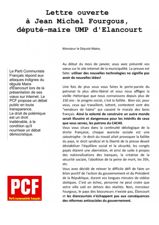 Lettre ouverte à Jean Michel Fourgous, député-maire UMP d'Elancourt