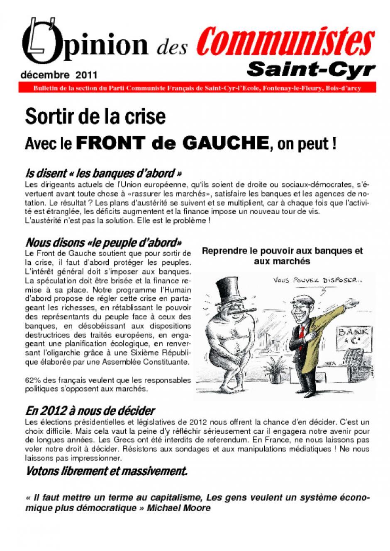 L'opinion des communistes, décembre 2011