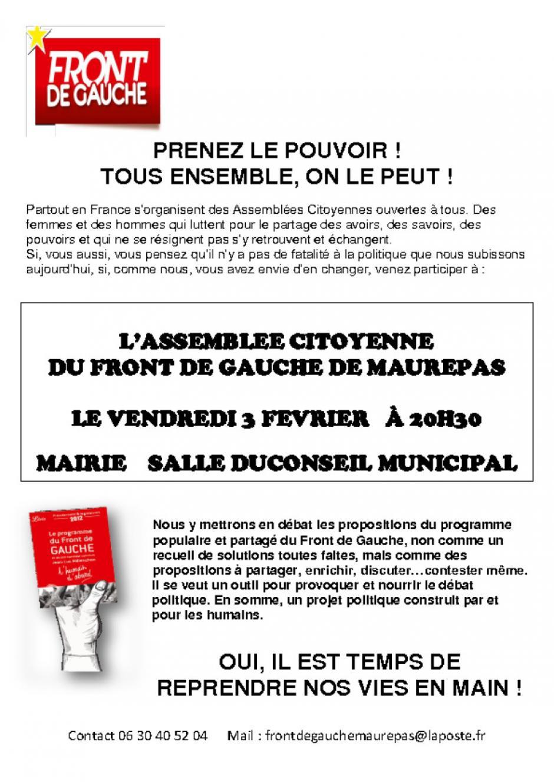Vendredi 3 Février assemblée citoyenne  du front de gauche de Maurepas