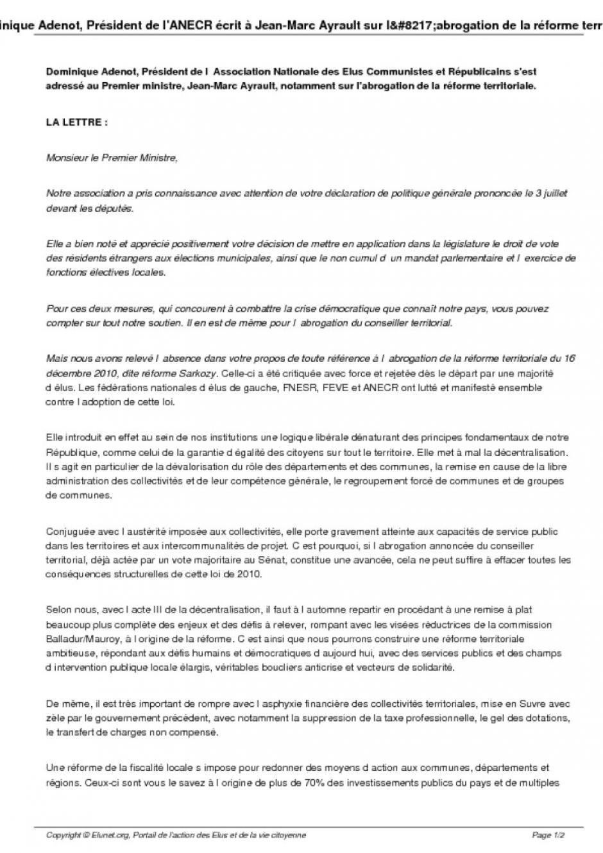 Réforme territorile, lettre du président de l'ANECR à Jean-Marc Heyrault