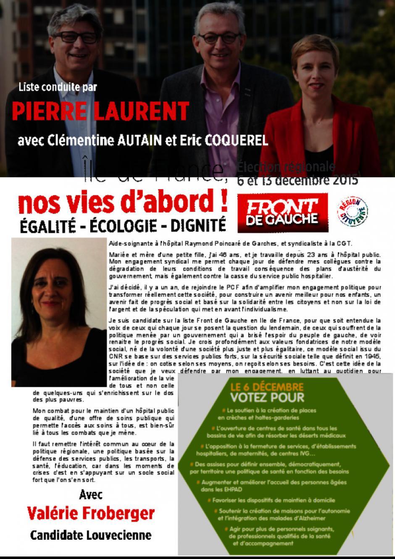 Régionales, Valérie Froberger, Aide-soignante à l'hôpital Raymond Poincaré de Garches, et syndicaliste