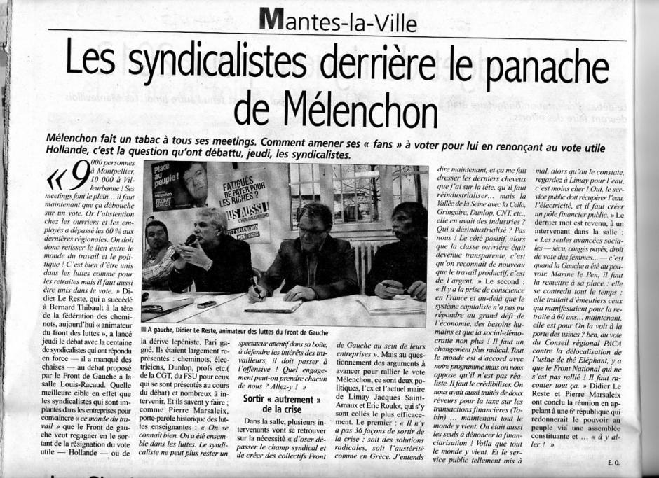 Front des luttes : Jeudi 9 février, Mantes La Ville, article du courrier de Mantes