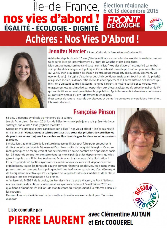 Régionales, Jennifer Mercier, Françoise Pinson, candidates Achéroises