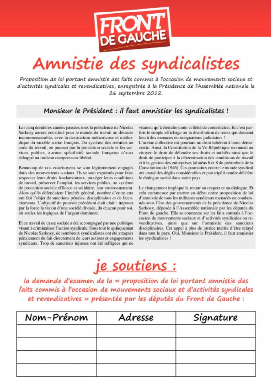 Monsieur le Président : il faut amnistier les syndicalistes !