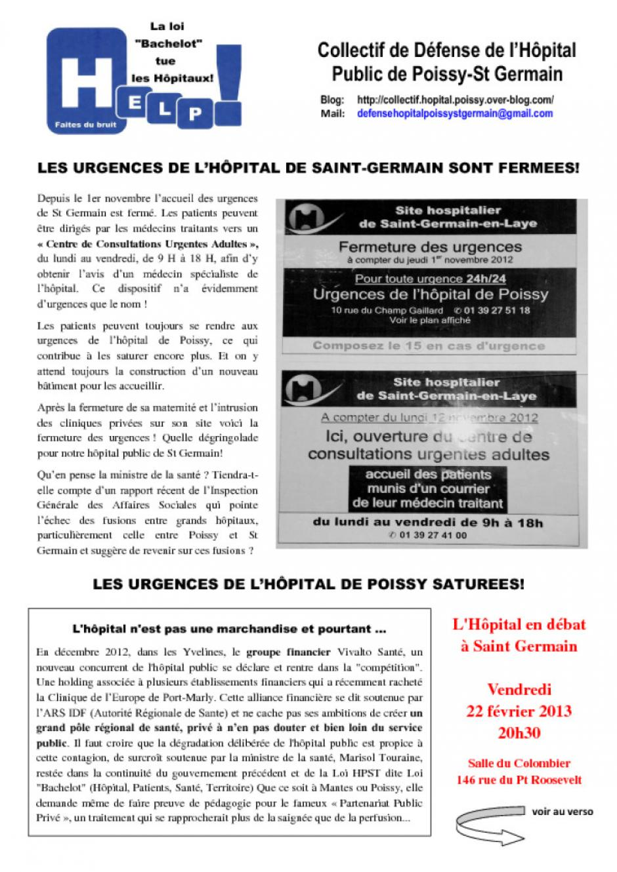 L'hôpital en débat à Saint Germain en Laye recto